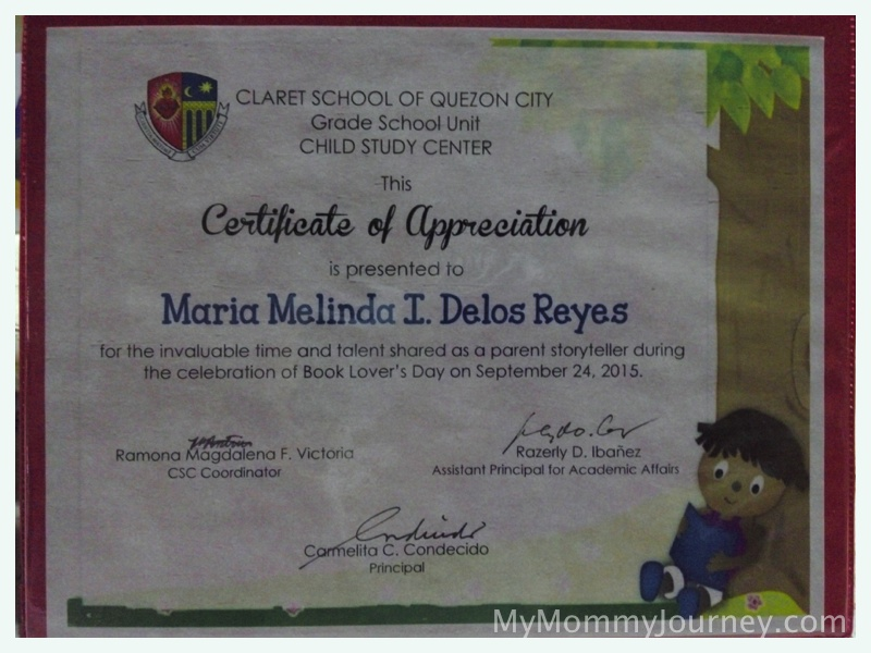 storyteller certificate, mommy's certificate of appreciation