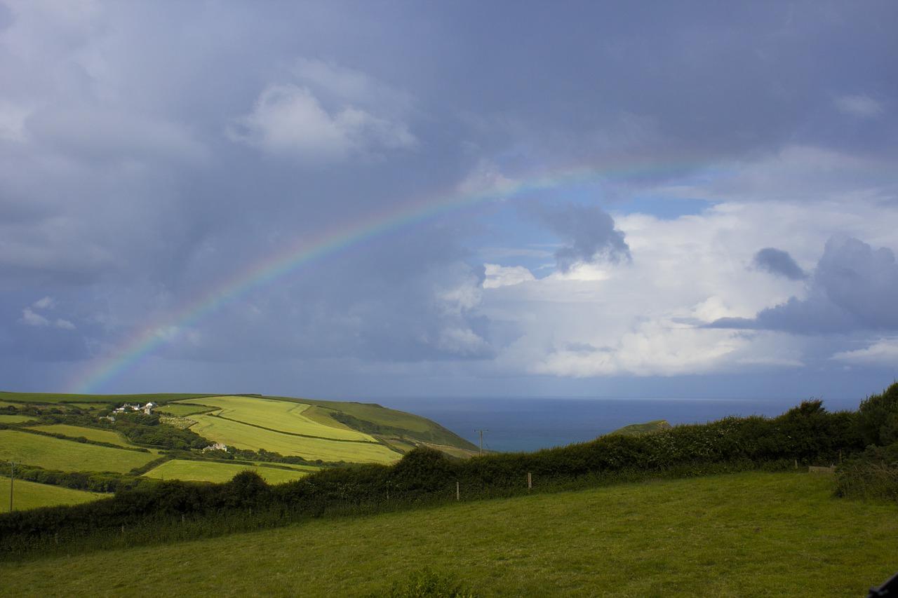 rainbow, rainbow in the sky, rainbow among clouds
