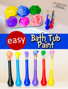 bathtub paint, shaving cream art