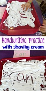 handwriting practice, shaving cream art