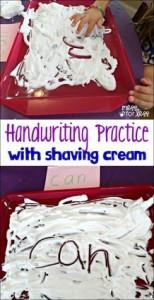 handwriting practice, shaving cream art