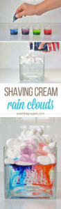 shaving cream art, rain clouds