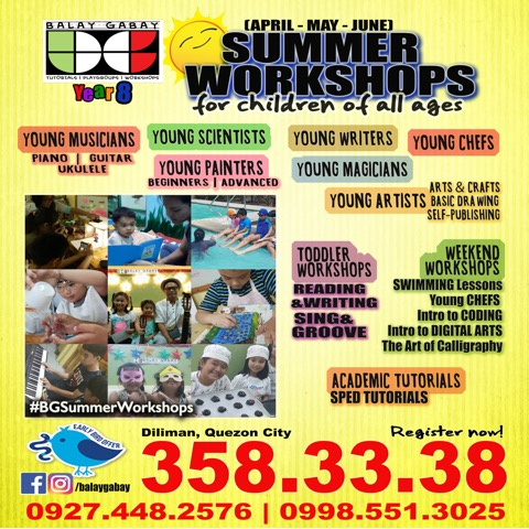 balay gabay, summer workshops, summer classes for toddlers, summer classes for kids, summer classes for kids 2019
