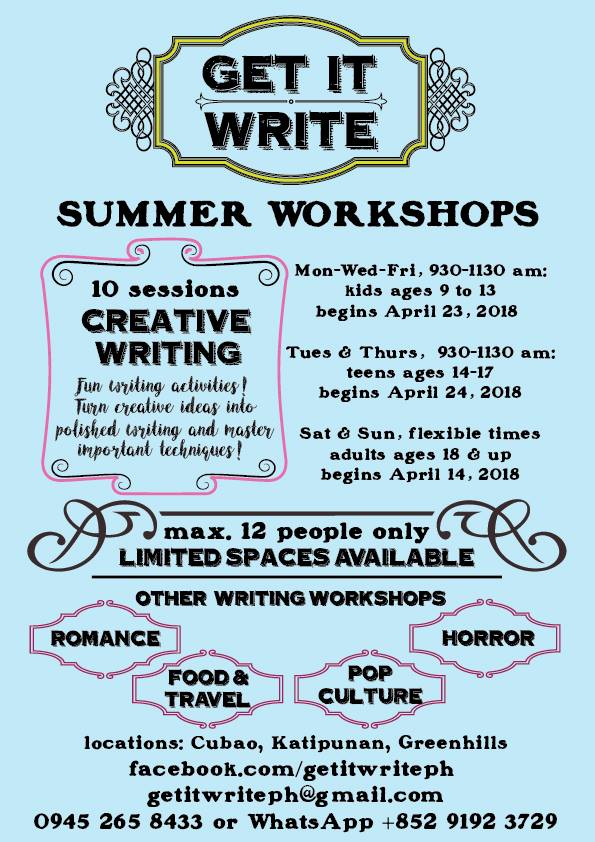 summer writing workshop for kids and teens, summer writing workshop, summer classes for kids, summer classes for kids 2019