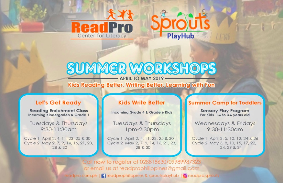 reading and play summer workshop, summer workshops, summer classes for kids, summer classes for kids 2019