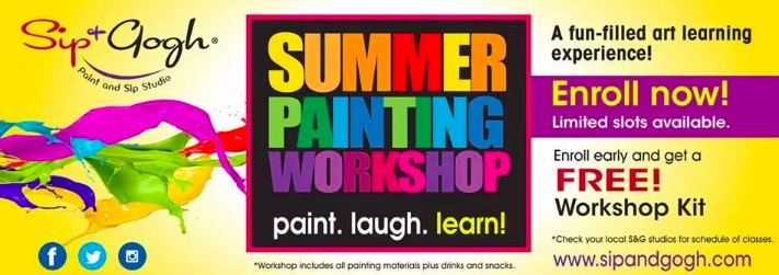 sip & gogh, summer painting workshop, summer classes for kids, summer classes for kids 2019,