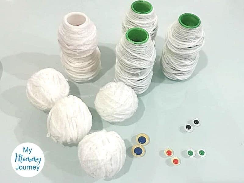 Yakult bottle craft prepare mummy eyes