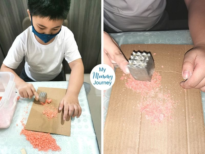 Halloween Excavation activity for kids playing with dust