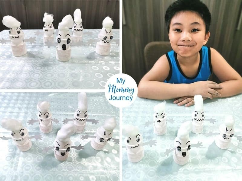 Yakult bottle ghost craft for kids