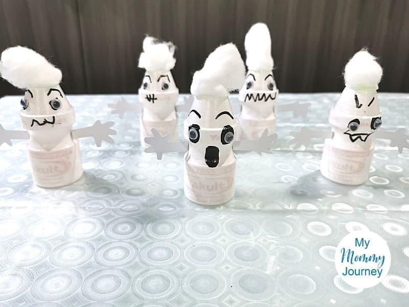 Halloween ghosts Yakult bottle craft