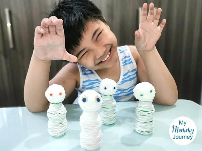 Mummy Yakult bottle craft for kids pose