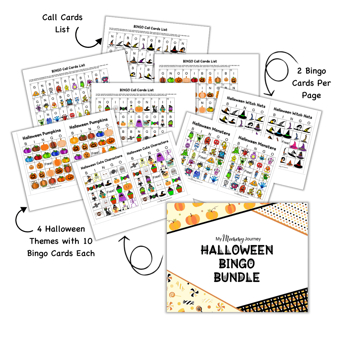 Halloween Bingo cards bundle landscape style