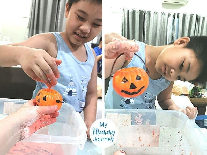 Halloween Oobleck jack o lantern