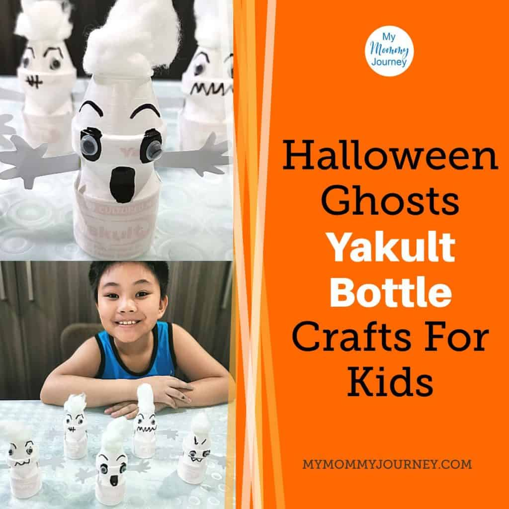 Halloween ghosts Yakult bottle blog post feature image