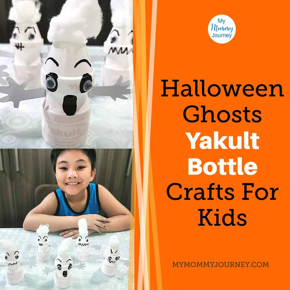 Halloween Ghosts Yakult Bottle Crafts for Kids