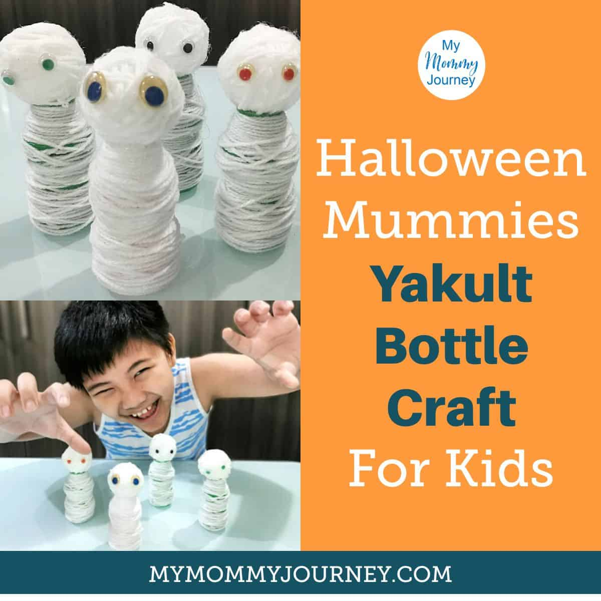 Halloween Mummies Yakult Bottle Crafts for Kids
