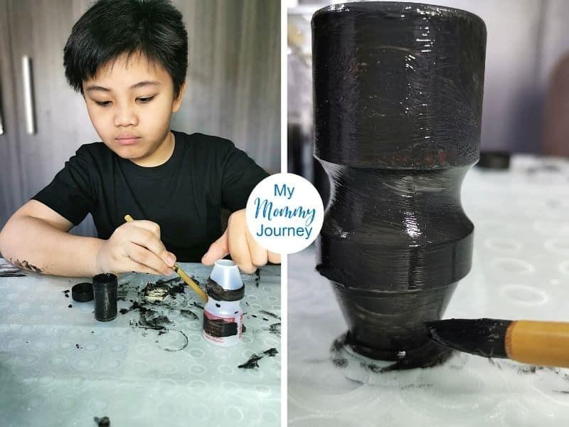 Halloween Black Cat Yakult Bottle Craft paint black