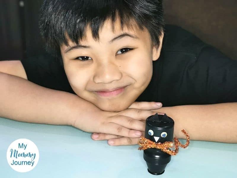 Halloween Black Cat Yakult Bottle Craft smile