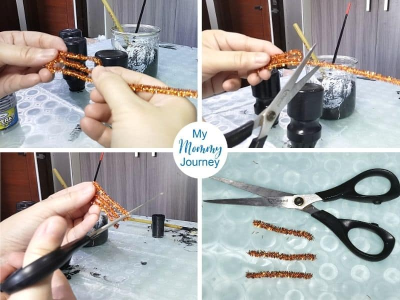 Halloween Black Cat Yakult Bottle Craft whiskers and tail using pipe cleaner