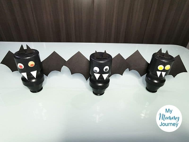 Halloween Bats Yakult bottle craft finished