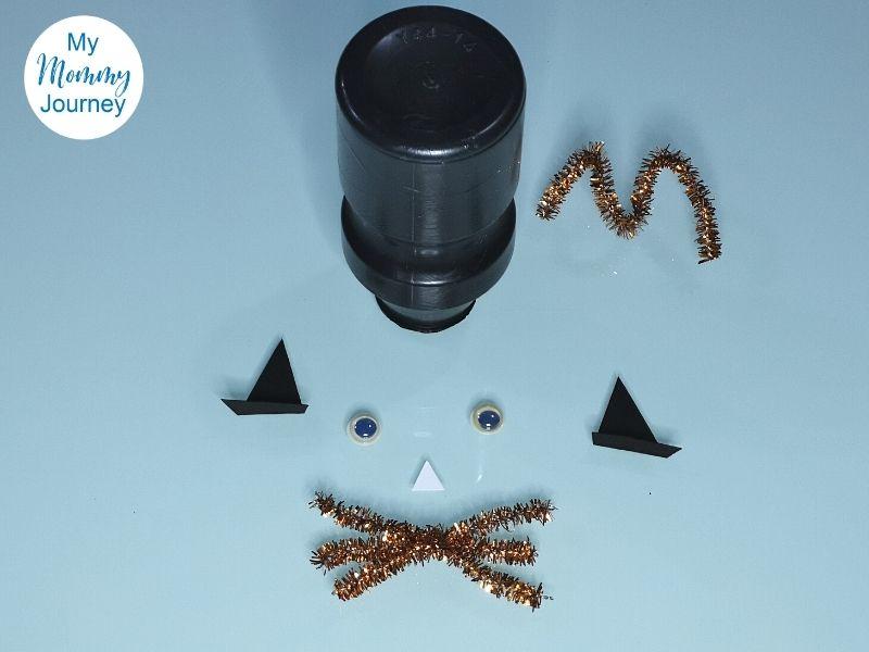Halloween Black Cat Yakult Bottle Craft body parts