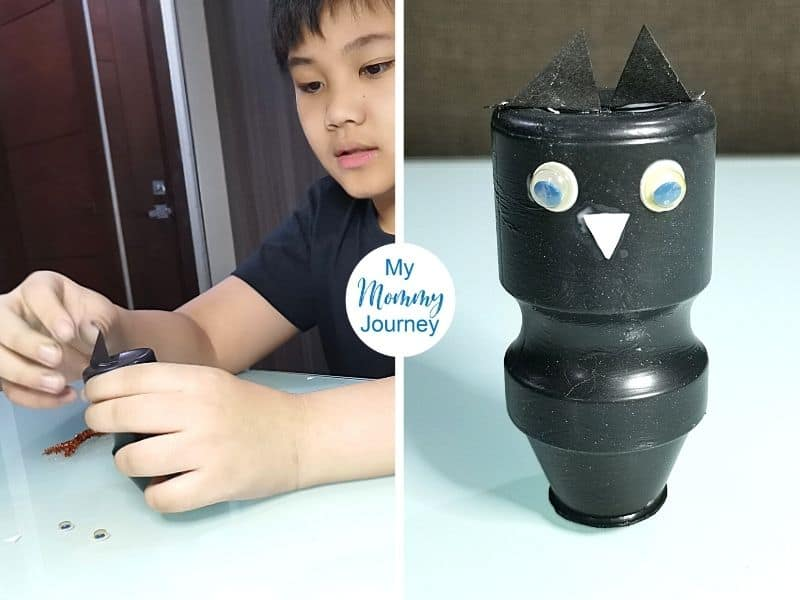 Halloween Black Cat Yakult Bottle Craft ears