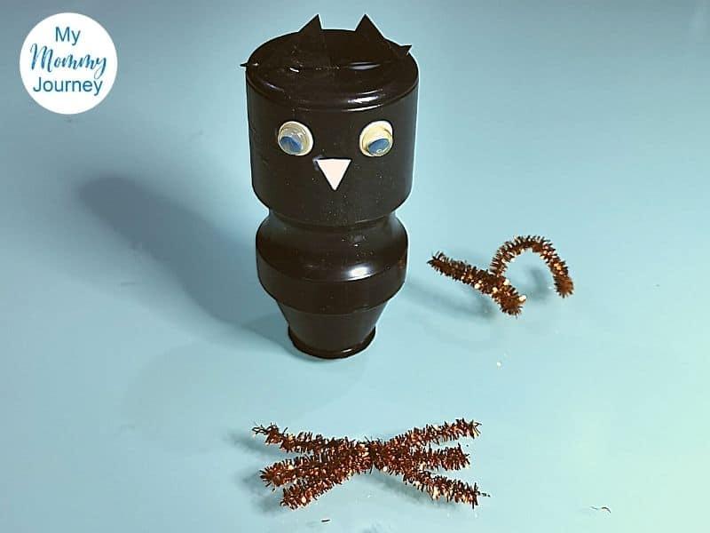 Halloween Black Cat Yakult Bottle Craft assembly