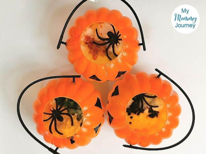 Halloween volcano baskets with ingredients