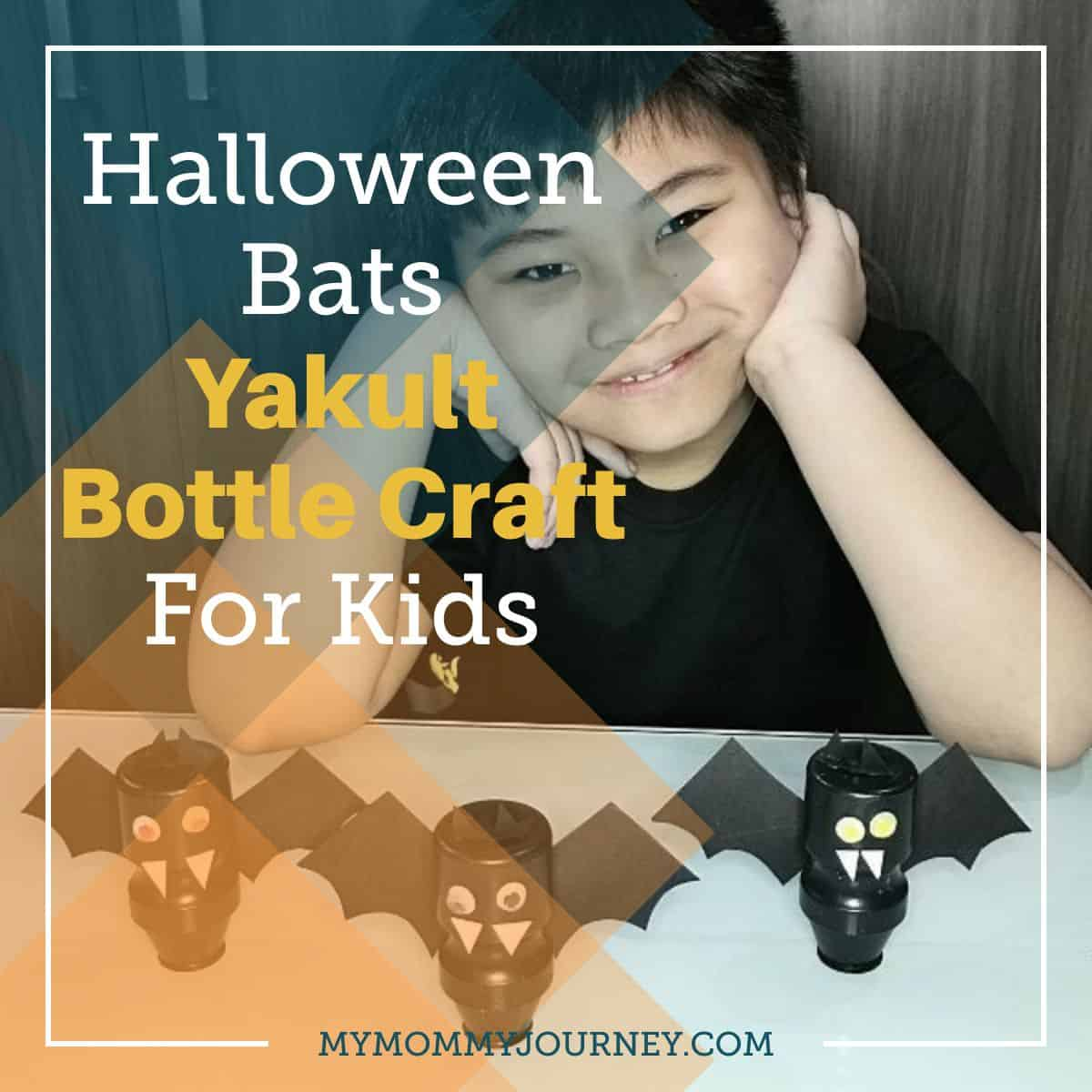 Halloween Bats Yakult Bottle Craft for Kids