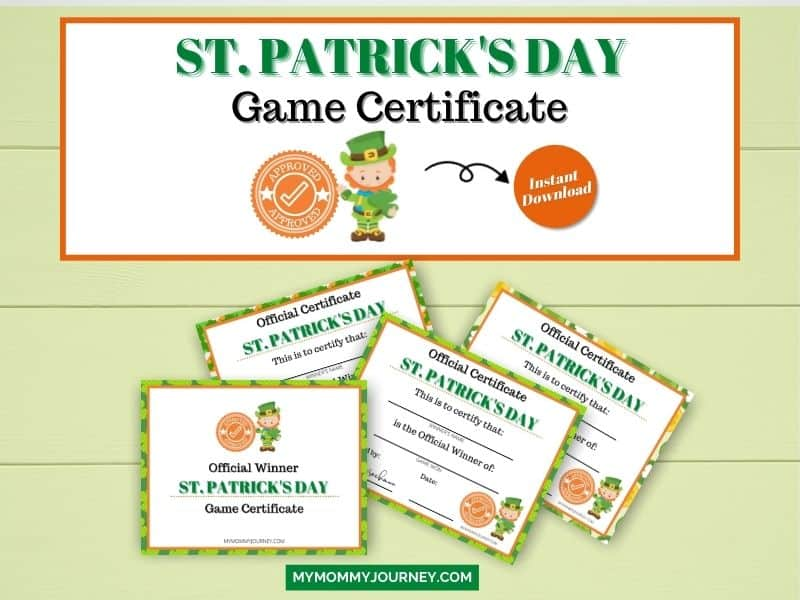 St. Patrick's Day Game Certificate printable