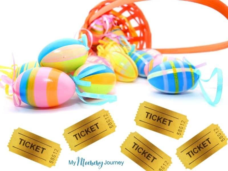 Unique Easter Egg Hunt at Home for Kids golden tickets as Easter egg fillers