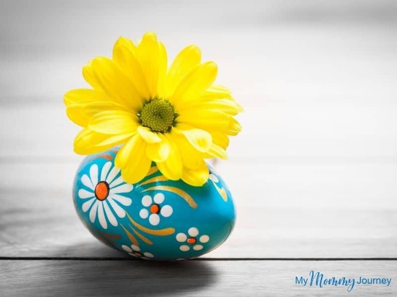 Unique Easter Egg Hunt at Home for Kids Easter egg with flower