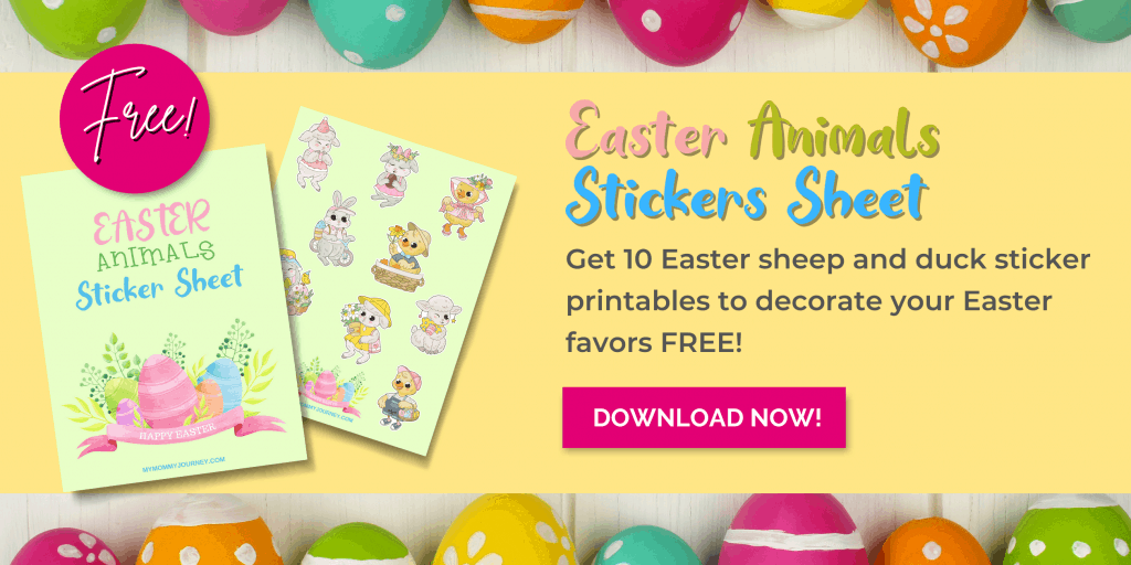 Easter animals stickers sheet free