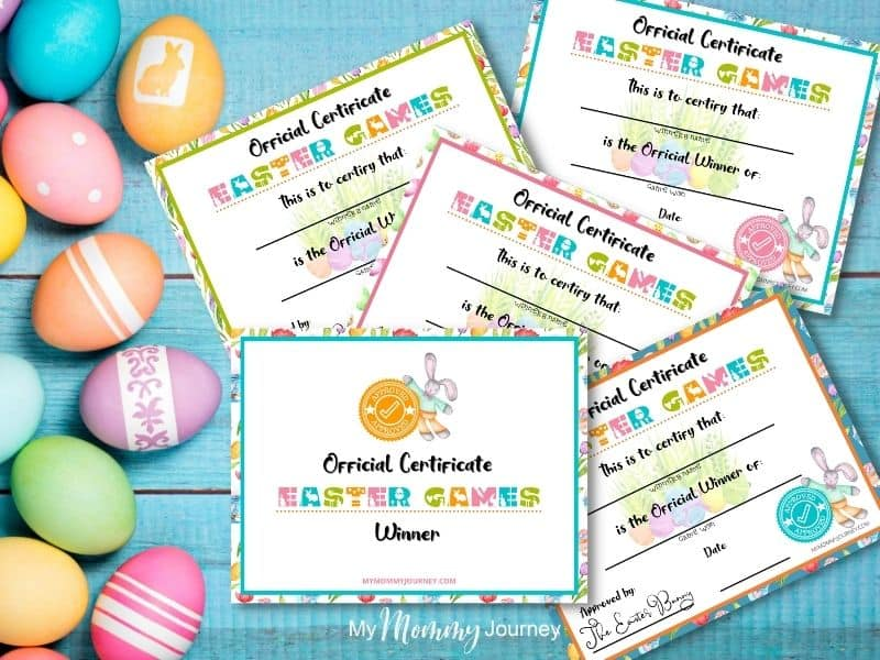 Unique Easter Egg Hunt At Home for Kids Game Winners Certificate