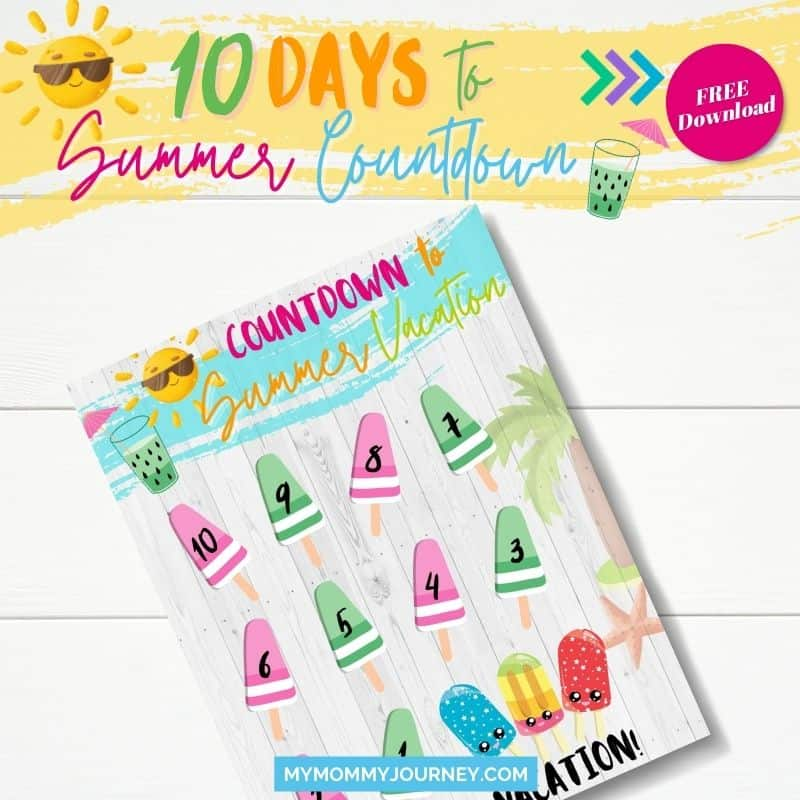 10 Days to Summer printable